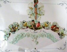 Victorian Embossed Fan Greeting Card Parasol 'With Fondest Wishes' BirdsHeirloom
