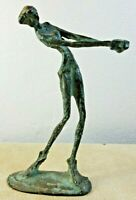 """Vintage Mid Century Bronzed Metal Sculpture Of A Golfer Brutalist Style 8"""" Tall"""