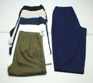 Basic Editions WOMENS PULL ON Cotton KHAKI Casual CARGO Capri Pants NEW