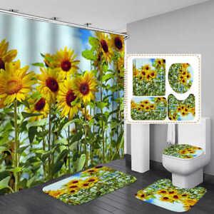 Yellow Sunflower Shower Curtain Bath Mat Toilet Cover Rug Bathroom Decor