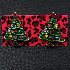 Betsey Johnson Rhinestone Green Enamel Christmas Tree Ear Stud Earrings