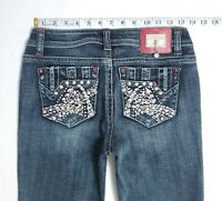 LA Idol Women's BLING EMBELLISHED RED RHINESTONE Skinny Faded Jeans 27 x 30