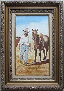 "E. Canney~Australian Artist~original painting~""a cowboy""~Classic Framed~80s"