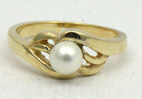 BJC® 9ct Yellow gold Pearl Solitaire size L engagement windy wave ring R162