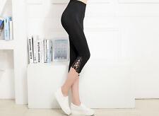 Womens Crop 3/4 Length Leggings Capri Cropped Summer Modal Yoga -BLACK - UK 8-10