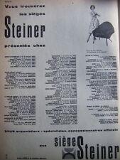 PUBLICITÉ 1959 SIÈGES STEINER CHEZ LES SPÈCIALISTÉS OFFICIELS