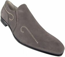 CESARE PACIOTTI US 8 STYLISH GRAY SUEDE LOAFERS ITALIAN DESIGNER MENS SHOES