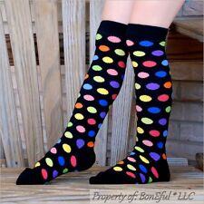 BonEful Boutique RTS NEW Cotton Knit GIRL KNEE SOCKS Rainbow Red Polka Dot Clown