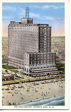 Aerial-Ritz Carlton Hotel-Beach-Atlantic City-New Jersey-NJ-Vintage Adv Postcard
