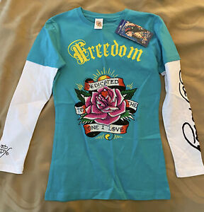 ED HARDY Girl's Freedom Rose Long Sleeve Tee Teal Size Large NWT