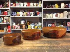 BRT Set Trio of Old Heavy Retro Glazed Pottery Tableware Table Serving Bowls