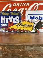 "VINTAGE stlye ""INDIAN"" GAS & OIL PLATE HEAVY PORCELAIN SIGN 24 X7.5 INCH"