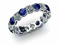 2ct Blue Sapphire Womens Eternity Anniversary Band Ring 14k White Gold Fn Silver