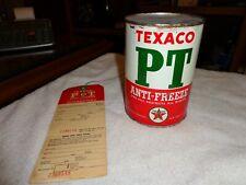 Rare Texaco PT Antifreeze 1QT Full 40's With Guarantee Radiator Tag