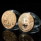 Silver Plated Bitcoin Coin Collectible Physical BTC Coin Art Collection w/ Case