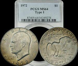 1972 S Eisenhower Silver Dollar PCGS MS64 Type 1 Ike