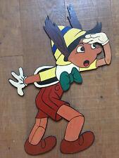 Grand Panneau Bois Peint Art Forain Walt Disney 1970 Populaire Pinocchio