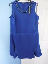 BNWT DEFINITION WOMAN'S BLUE SCUBA DRESS BLUE BEADED NECKLACE SIZE UK 20 EUR 48