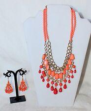 """Shades of Orange Beaded 18"""" + 2"""" ex Necklace & Earring Set NWT!"""