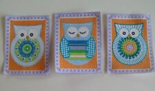 3 Iron On Appliques Fabric Material Purple Framed Multicoloured Owls #B Handcut