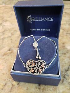 New In Box Brilliance Marcasite by Swarovski Love Heart Silver Bracelet