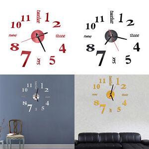 Art moderne bricolage grande horloge murale 3D autocollants décors de chambrD^BI