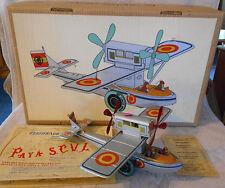 PAYA Spain Tin Litho Clockwork Windup Seaplane Airplane w/Box & Certificates