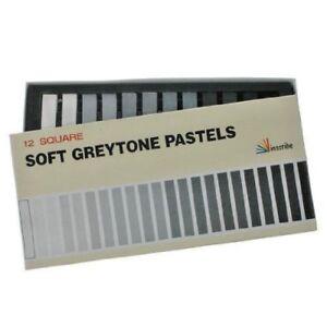 Inscribe Set of 12 Square Soft Greytone Pastels in Black, Grey, White