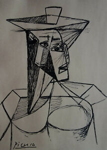 Fine rare Cubist painting – woman, signed Pablo Picasso, marked on verso