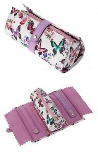 Butterfly Jewellery Roll Purple Storage Travel Case Pouch Earrings Organiser