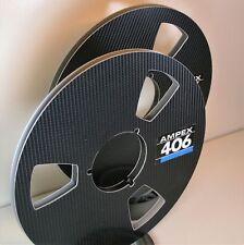 """2 X AMPEX 406 LOGO BLACK VINYL EFFECT METAL NAB HUB REEL TO REEL 10.5"""" X 1/4"""""""