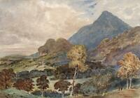 RYDAL WATER CUMBRIA LAKE DISTRICT Watercolour Painting 19TH CENTURY MOUNTAINS