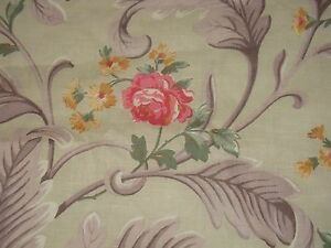 VTG PINK ROSE FLORAL LEAF PLUME BARKCLOTH ERA COTTON LINEN DRAPE FABRIC 35X91