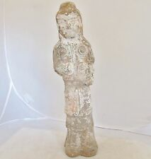 """Antique SUI Dynasty ? Chinese Clay or Pottery Painted Kwan Yin Statue  (14"""")"""