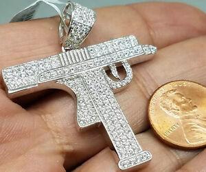 """925 sterling silver machine gun rifle uzi simulated diamond necklace charm 1.75"""""""