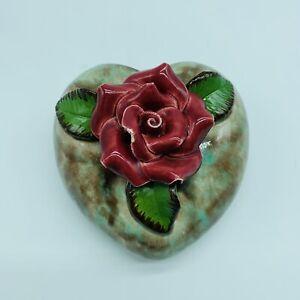 Vintage Ceramic Wall Pocket Flower Pot Red Roses Hanging Planter