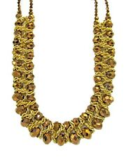 Bronze Brown Glass Bead and Gold Link Chain Statement Necklace - NEW