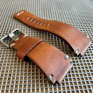 24mm Sunset BROWN Bell & Ross Leather Watch Strap Band BR01 BR03 GRAY StItch