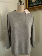 TALBOT'S Classic Cashmere SWEATER NWT Gray Large 3/4 Sleeve Hand Wash Crew Neck