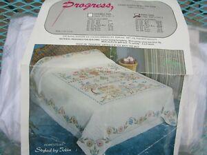 """Vintage Progress Cross-Stitch Quilt Kit #1572 HOMESTEAD KING 108""""X113 Tobin"""