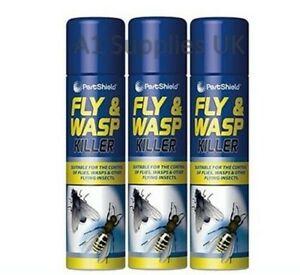 X 3 FLY AND WASP KILLER SPRAY Fast Acting New Formula Petshield 300ml Moths UK