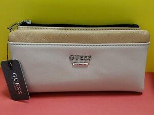 Guess Maxwell Color-block Check Organizer top-zip Foldover Wallet Beige & Black