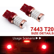 2PCS T20 7443 SMD4014 LED Car Reverse Brake Tail Bulb Light Lamp Red 1200lm 12V