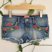Superdry Folkloric Embroidered Denim Hot Pants Shorts W26 Light Wash Summer
