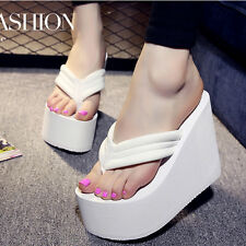 Women's Flip Flops High Slippers Wedge Platform Heel Shoes Summer Antiskid Beach