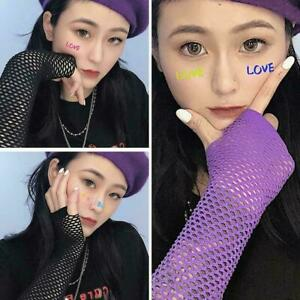 Neon Fishnet Fingerless Long Sleeves Arm Cuff Party For Women Dress Gift W4L1