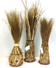 """Woven Grass Standing Decor~Set of 3. Metal Frame. Natural, Green. 22"""" to 27"""" T"""