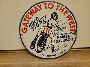 Vintage Harley Davidson Dealership  Sign Automotive Gas Oil Hunting Motorcycles