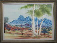 THERESE RYDER HERMANNSBURG FRAMED WC BLUE HILLS MACDONNELL RANGES AUSTRALIA 1980