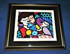 """Romero Britto Framed & Matted Giclee """"THREE OF US"""" Signed Matted & Framed LE"""
